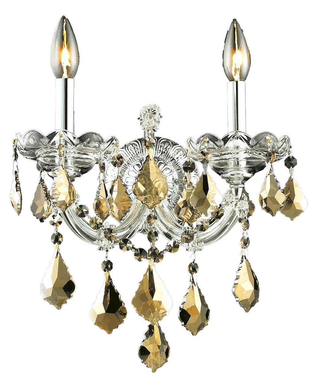 Elegant Lighting Wall Sconces : Elegant Lighting Royal Cut Smoky Golden Teak Crystal Maria Theresa 2-Light Crystal Wall Sconce ...