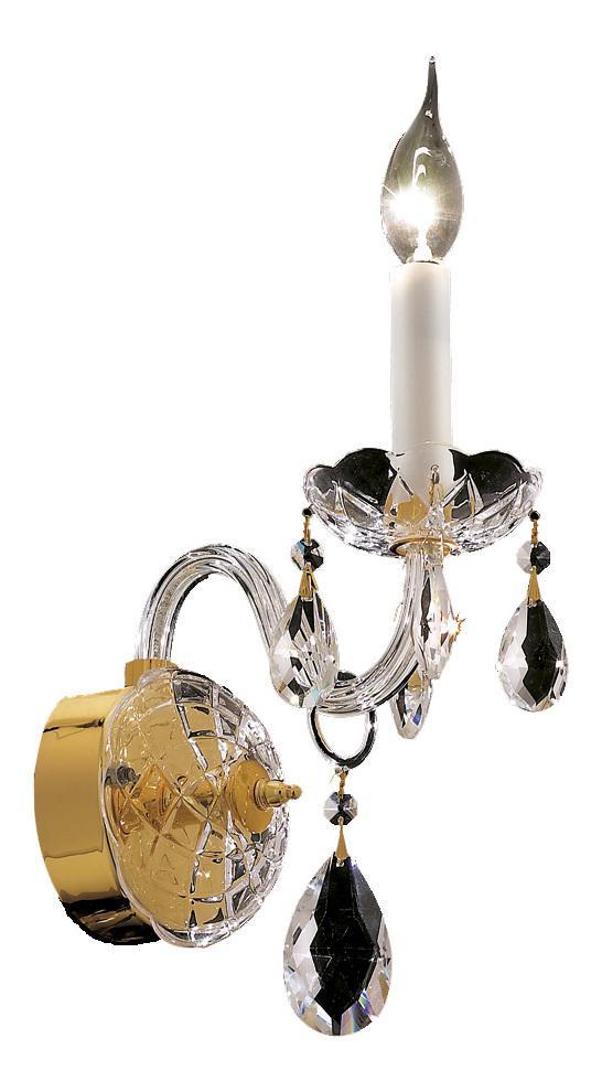 Elegant Lighting Wall Sconces : Elegant Lighting Royal Cut Clear Crystal Alexandria 1-Light Crystal Wall Sconce Gold 7829W1G/RC ...