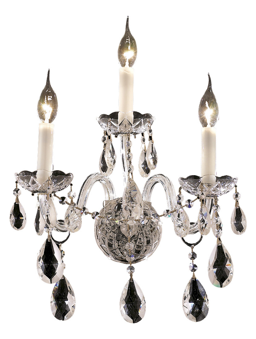 Clear Crystal Wall Sconces : Elegant Lighting Royal Cut Clear Crystal Alexandria 3-Light Crystal Wall Sconce Chrome 7829W3C ...