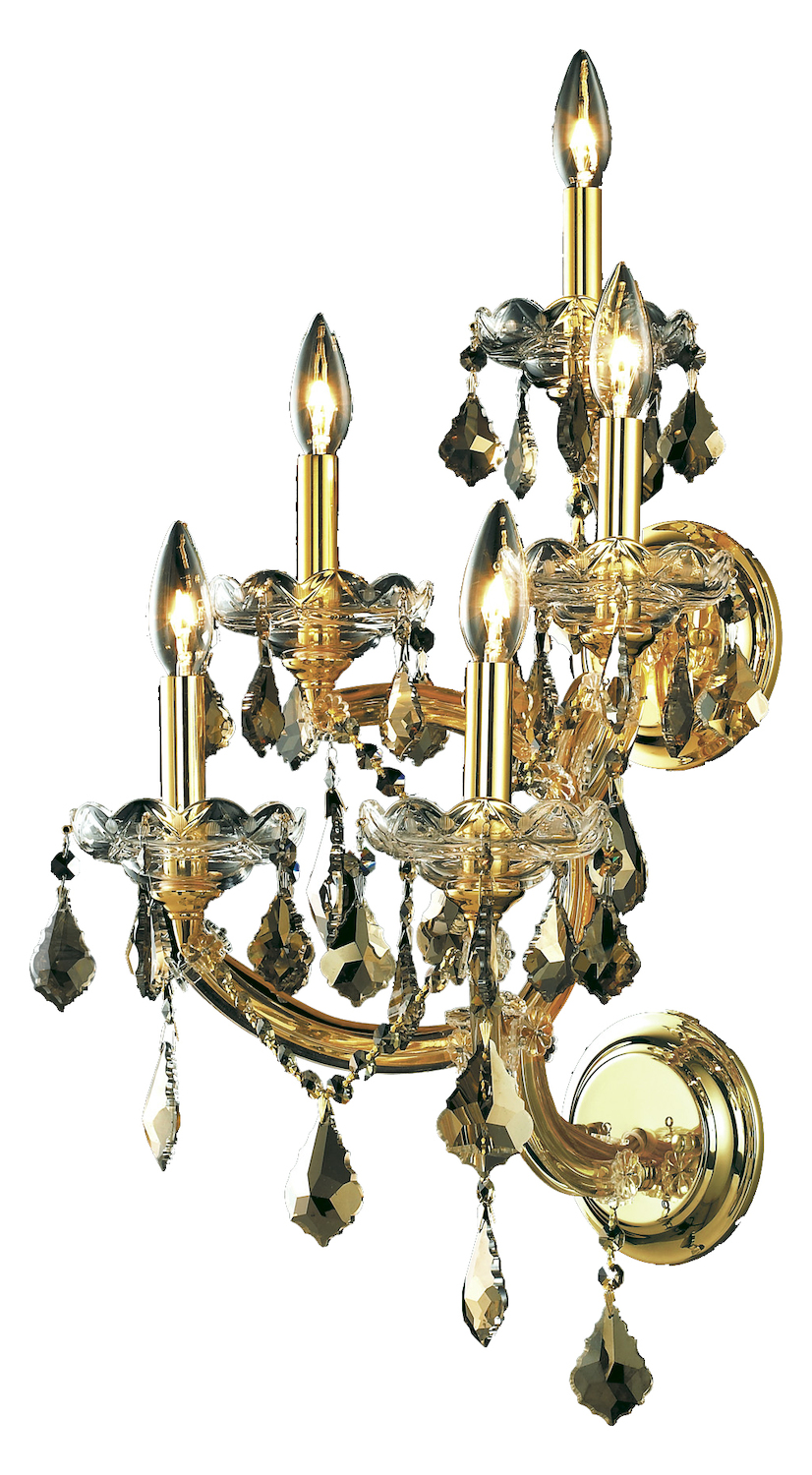 Elegant Lighting Royal Cut Smoky Golden Teak Crystal Maria Theresa 5-Light Crystal Wall Sconce ...