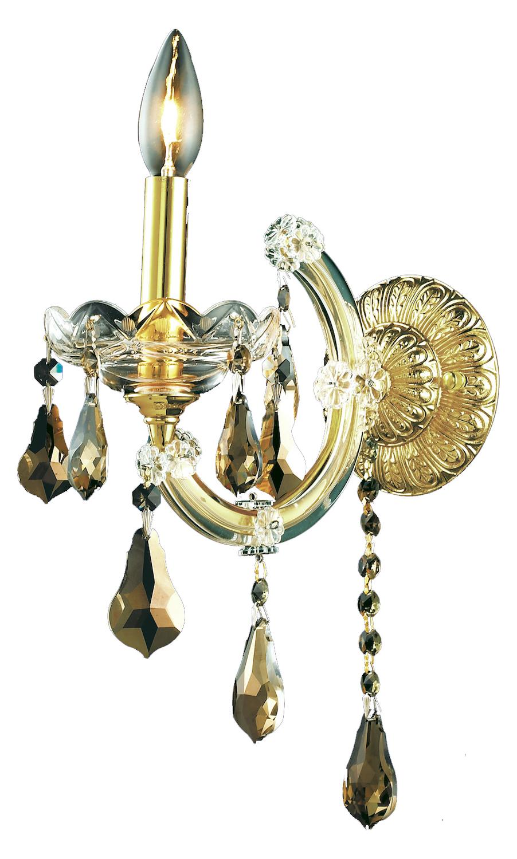 Elegant Lighting Royal Cut Smoky Golden Teak Crystal Maria Theresa 1-Light Crystal Wall Sconce ...