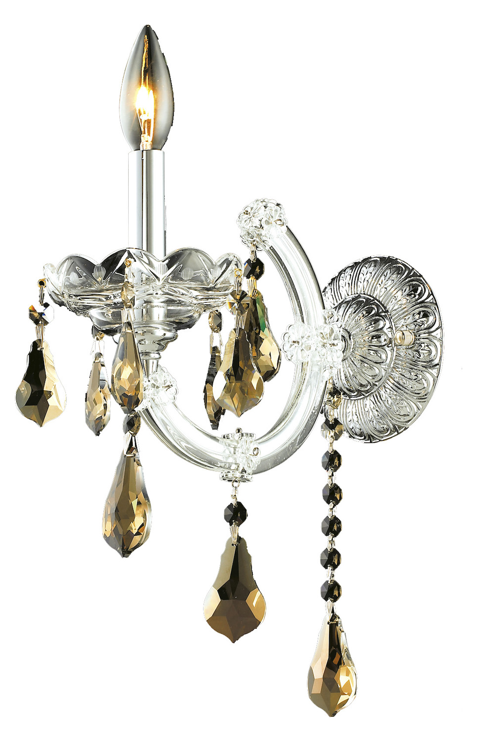 Elegant Crystal Wall Sconces : Elegant Lighting Royal Cut Smoky Golden Teak Crystal Maria Theresa 1-Light Crystal Wall Sconce ...