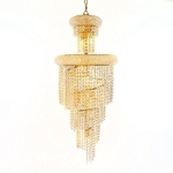 Spiral Design 10-Light 16'' Gold or Chrome Chandelier with European or Swarovski  Crystals SKU# 10124