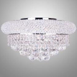 Bagel Design 8-Light 16'' Chrome or Gold Round Ceiling Flush Mount Dressed with European or Swarovski Crystal  SKU# 10129