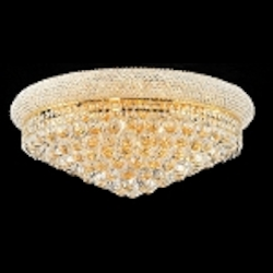 Bagel Design 12-Light 24'' Chrome or Gold Round Ceiling Flush Mount Dressed with European or Swarovski Crystal  SKU# 10132