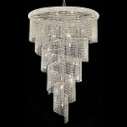 Spiral Design 29-Light 72'' Chrome or Gold Chandelier with European or Swarovski Crystals SKU# 10145
