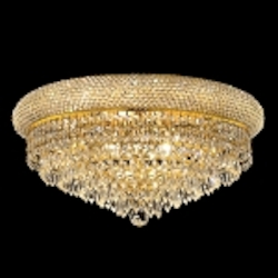 Bagel Design 10-Light 20'' Gold or Chrome Round Ceiling Flush Mount Dressed with European or Swarovski Crystals SKU# 10158
