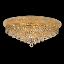 Bagel Design 12-Light 24'' Gold or Chrome Round Ceiling Flush Mount Dressed with European or Swarovski Crystals SKU# 10159