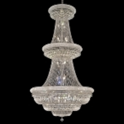 Bagel Design 38-Light 72'' Chrome or Gold Chandelier Dressed with European or Swarovski Crystals SKU# 10175