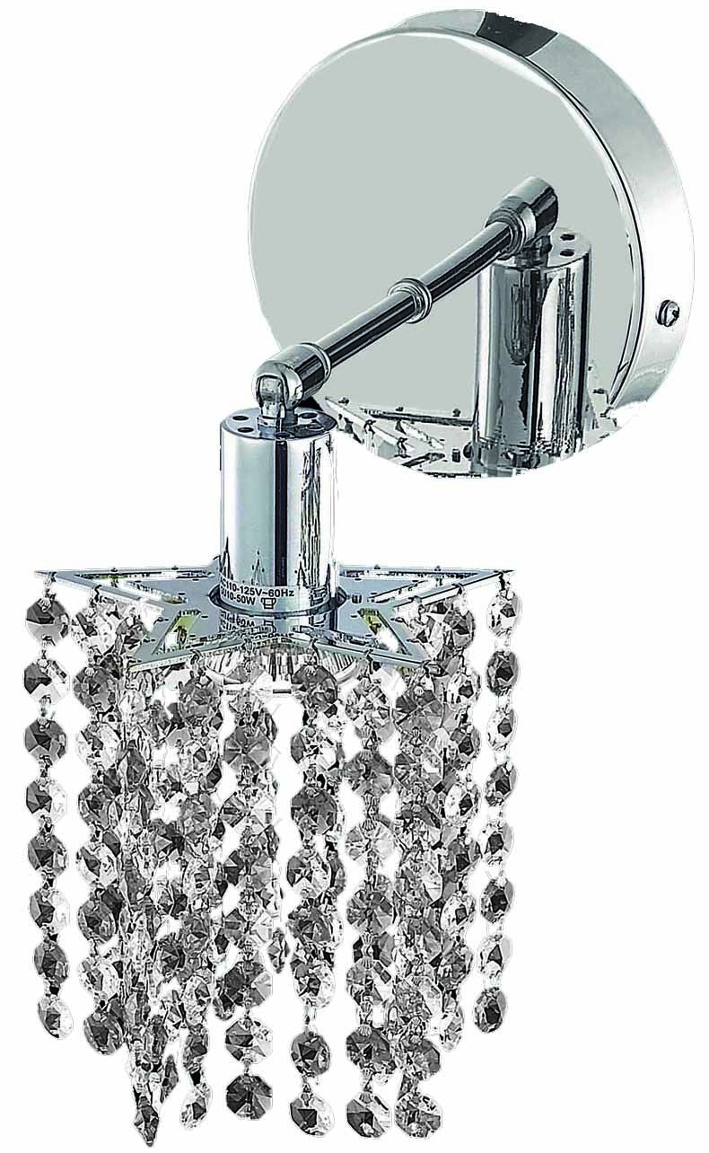 Clear Crystal Wall Sconces : Elegant Lighting Royal Cut Clear Crystal Mini 1-Light Crystal Wall Sconce Chrome 1281W-R-P-CL/RC ...
