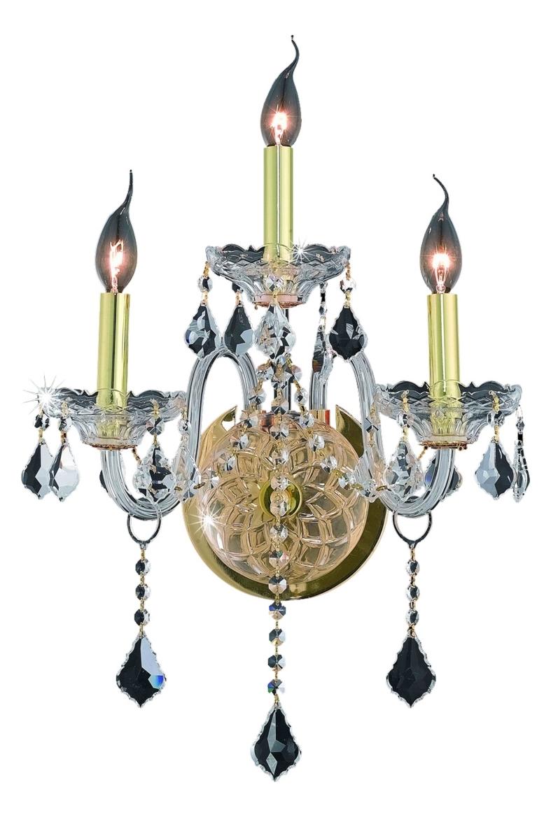 Elegant Lighting Wall Sconces : Elegant Lighting Royal Cut Clear Crystal Verona 3-Light Crystal Wall Sconce Gold 7853W3G/RC From ...