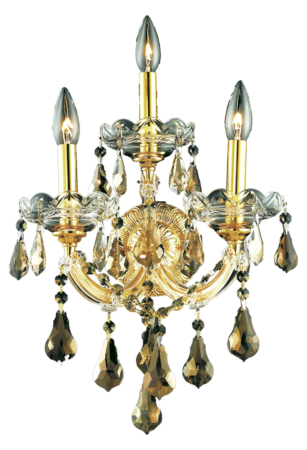 Elegant Crystal Wall Sconces : Elegant Lighting Royal Cut Smoky Golden Teak Crystal Maria Theresa 3-Light Crystal Wall Sconce ...