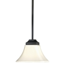 "Agilis Collection 1-Light 12"" Black Mini Pendant with Lamina Blanca Glass 1811-66"
