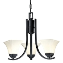"Agilis Collection 3-Light 20"" Black Mini chandelier with Lamina Blanca Glass 1813-66"