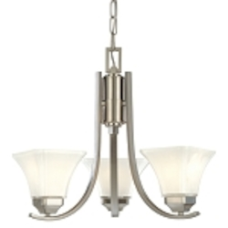 "Agilis Collection 3-Light 20"" Brushed Nickel Mini Chandelier with Lamina Blanca Glass 1813-84"