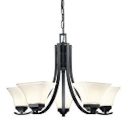 "Agilis Collection 5-Light 27"" Black Chandelier with Lamina Blanca Glass 1815-66"