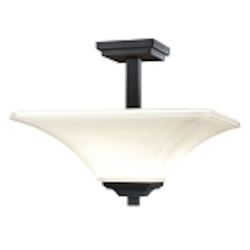 "Agilis Collection 2-Light 15"" Black Semi-Flush with Lamina Blanca Glass 1816-66"