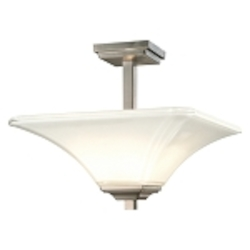 "Agilis Collection 2-Light 15"" Brushed Nickel Semi-Flush with Lamina Blanca Glass 1816-84"