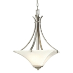"Agilis Collection 3-Light 28"" Brushed Nickel Pendant with Lamina Blanca Glass 1817-84"