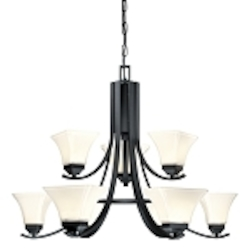 "Agilis Collection 9-Light 32"" Black Chandelier with Lamina Blanca Glass 1818-66"