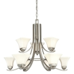 "Agilis Collection 9-Light 32"" Brushed Nickel Chandelier with Lamina Blanca Glass 1818-84"