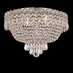 Empire Design 4-Light 16'' Gold or Chrome Ceiling Flush Mount with European or Swarovski Spectra Crystal Strands SKU# 10195