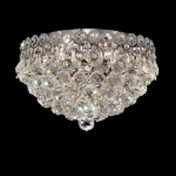 Empire Design 4-Light 14'' Chrome or Gold Ceiling Flush Mount with European or Swarovski Crystals SKU# 10206
