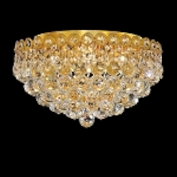 Empire Design 4-Light 16'' Gold or Chrome Ceiling Flush Mount with European or Swarovski Crystals SKU# 10207