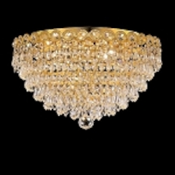 Empire Design 4-Light 16'' Chrome or Gold Ceiling Flush Mount with European or Swarovski Crystals SKU# 10217