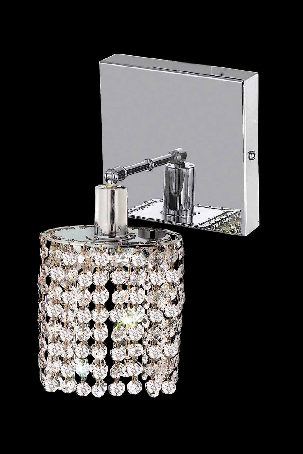 Small Crystal Wall Sconces : Elegant Lighting Swarovski Elements Clear Crystal Mini 1-Light Crystal Wall Sconce Chrome 1281W ...