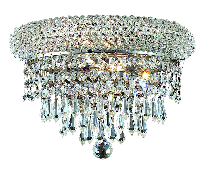 Clear Crystal Wall Sconces : Elegant Lighting Swarovski Spectra Clear Crystal Primo 2-Light Crystal Wall Sconce Chrome ...