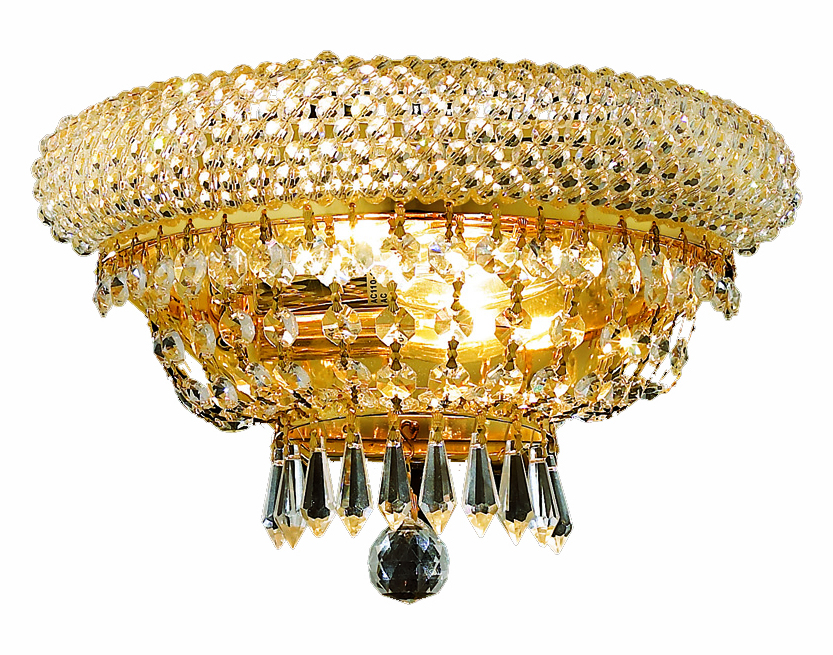 Clear Crystal Wall Sconces : Elegant Lighting Swarovski Spectra Clear Crystal Primo 2-Light Crystal Wall Sconce Gold 1803W12G ...
