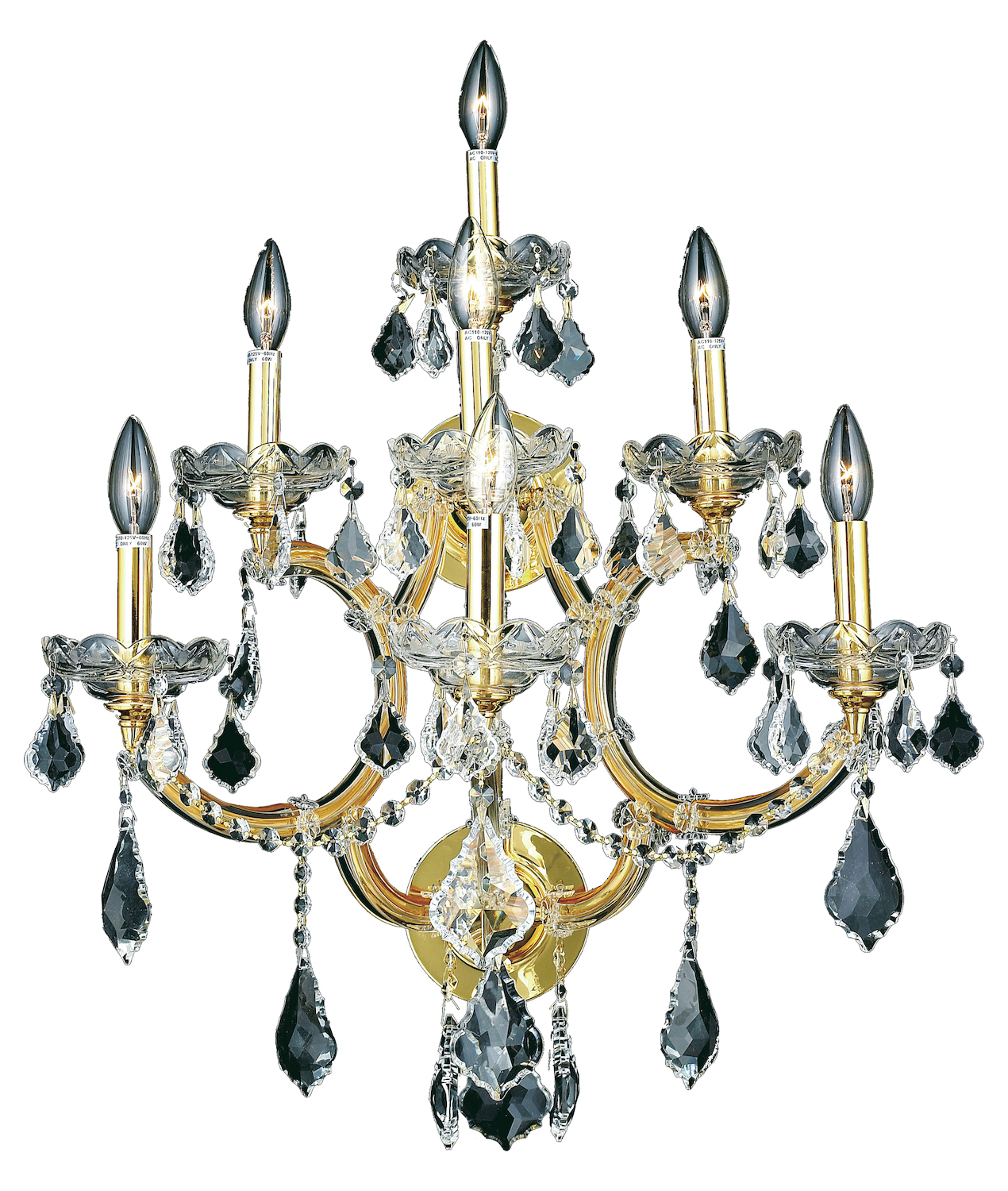 Elegant Crystal Wall Sconces : Elegant Lighting Elegant Cut Clear Crystal Maria Theresa 7-Light Crystal Wall Sconce Gold ...