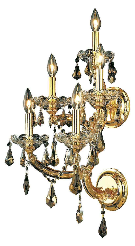 Elegant Lighting Wall Sconces : Elegant Lighting Swarovski Elements Smoky Golden Teak Crystal 5-Light Crystal Wall Sconce Gold ...