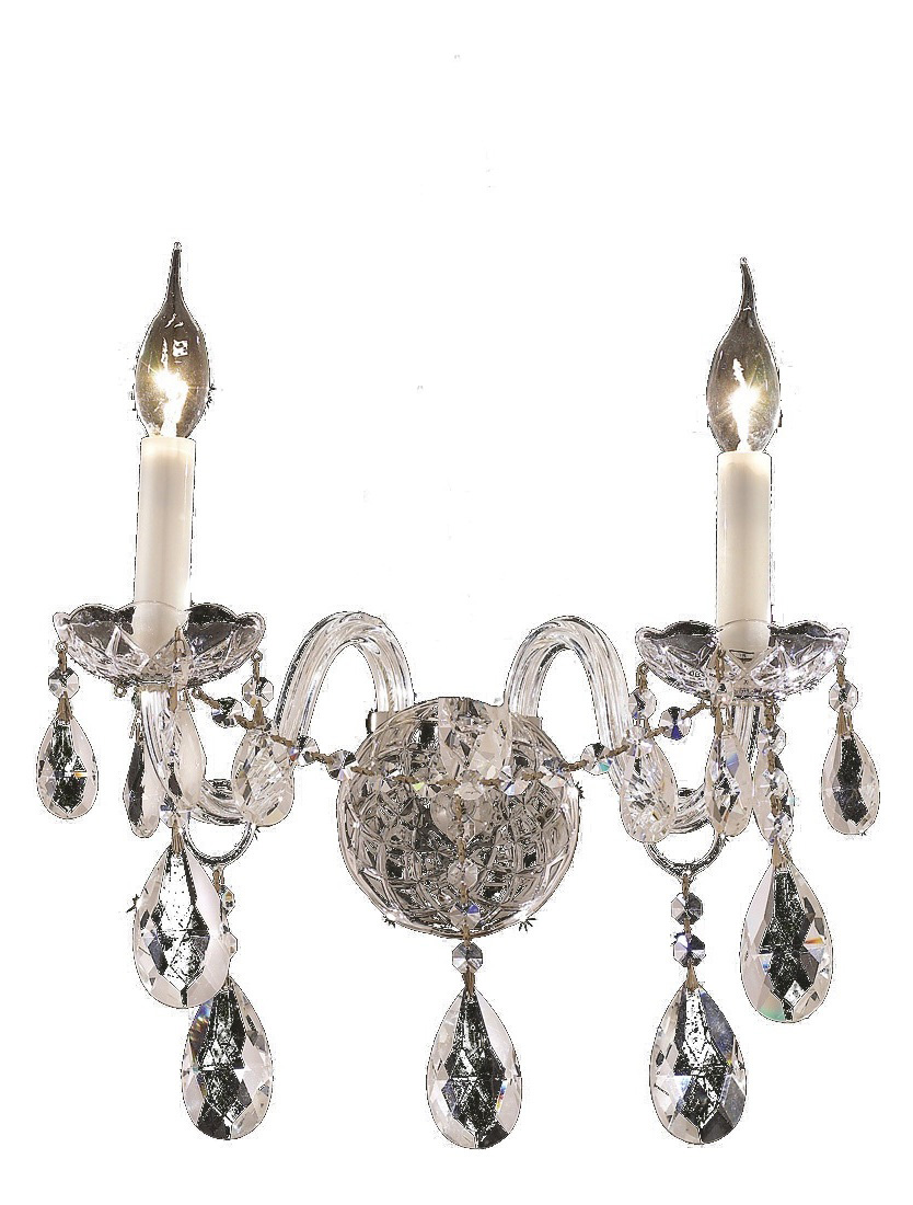 Clear Crystal Wall Sconces : Elegant Lighting Swarovski Spectra Clear Crystal Alexandria 2-Light Crystal Wall Sconce Chrome ...