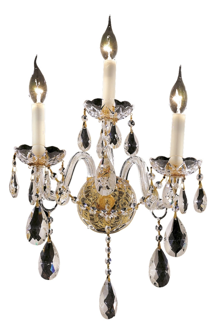 Elegant Crystal Wall Sconces : Elegant Lighting Elegant Cut Clear Crystal Alexandria 3-Light Crystal Wall Sconce Gold 7829W3G ...