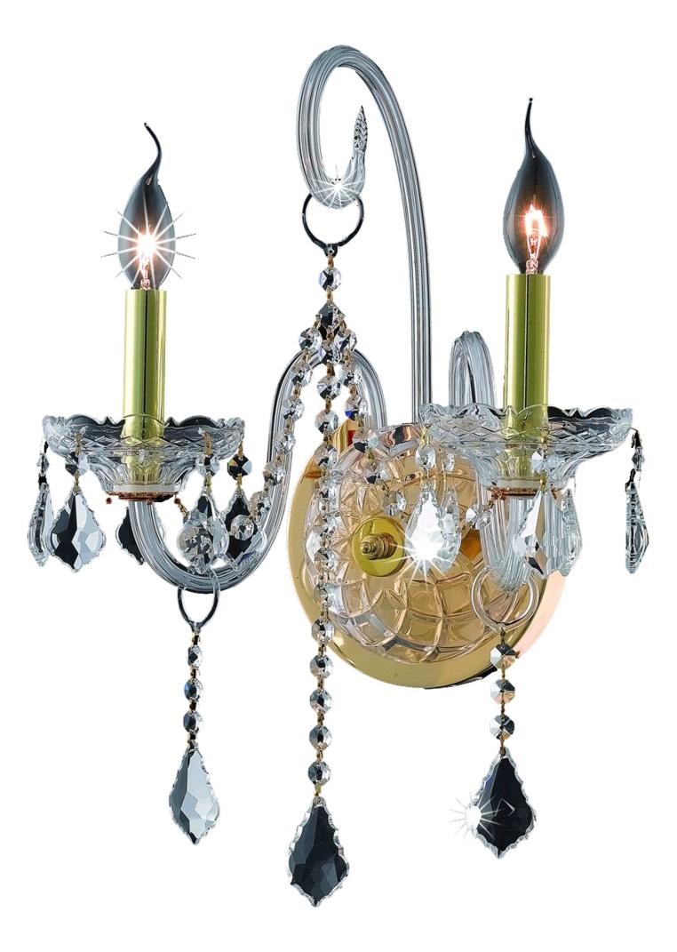 Elegant Lighting Elegant Cut Clear Crystal Verona 2-Light Crystal Wall Sconce Gold 7852W2G/EC ...