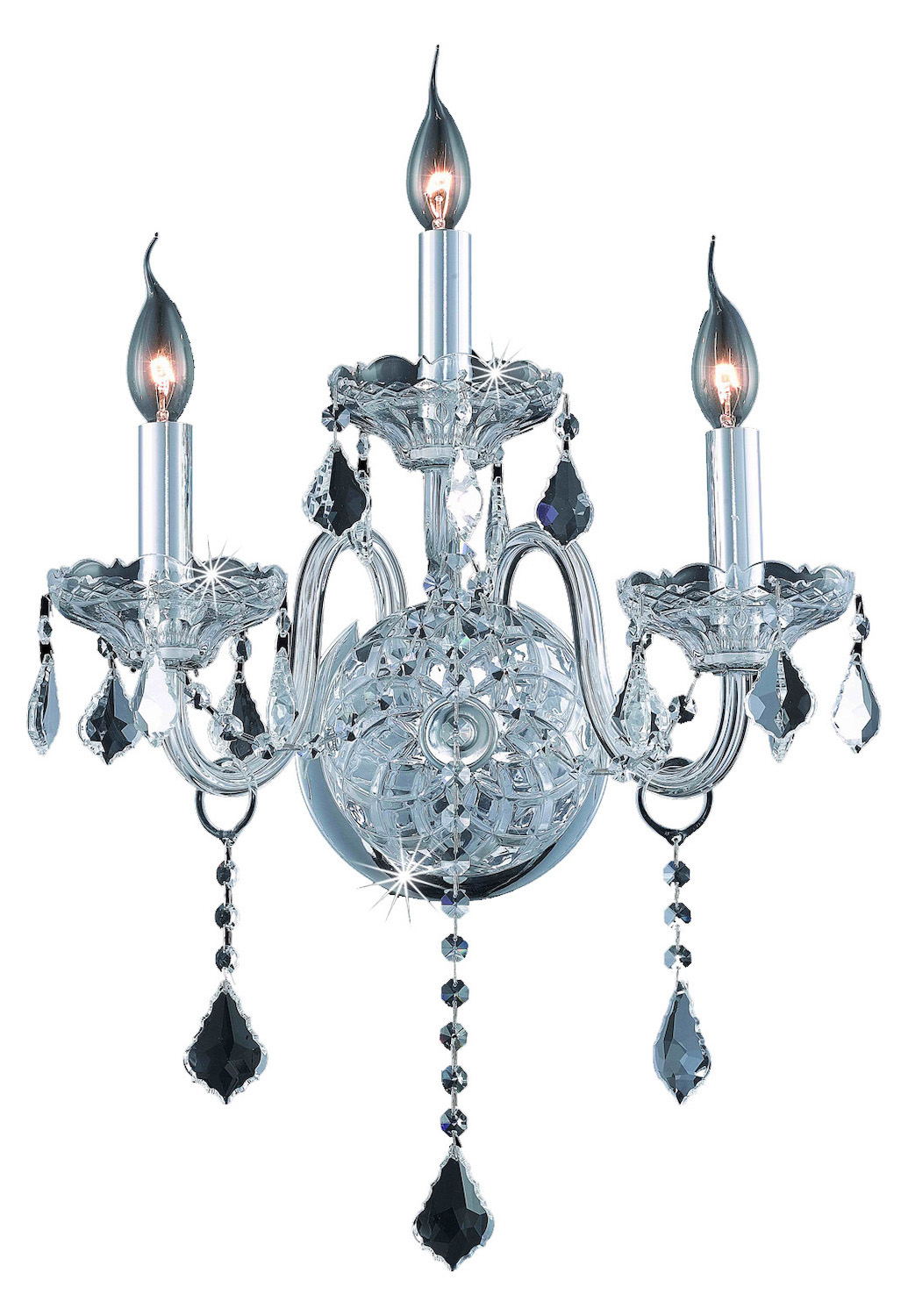 Clear Crystal Wall Sconces : Elegant Lighting Elegant Cut Clear Crystal Verona 3-Light Crystal Wall Sconce Chrome 7853W3C/EC ...