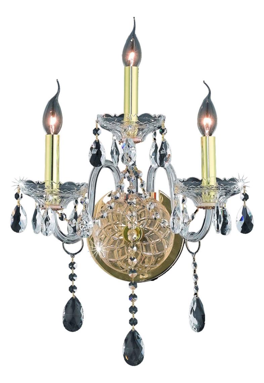 Elegant Lighting Wall Sconces : Elegant Lighting Swarovski Spectra Clear Crystal Verona 3-Light Crystal Wall Sconce Gold 7953W3G ...