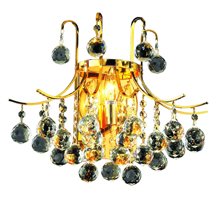 Clear Crystal Wall Sconces : Elegant Lighting Swarovski Elements Clear Crystal Toureg 3-Light Crystal Wall Sconce Gold ...