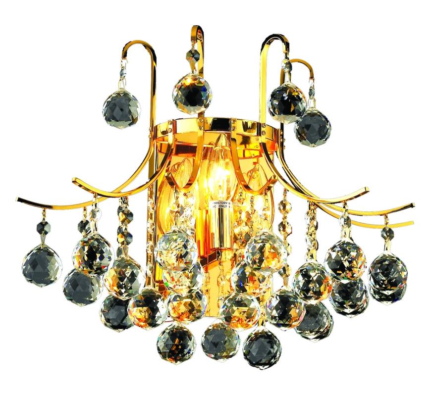 Elegant Lighting Swarovski Elements Clear Crystal Toureg 3-Light Crystal Wall Sconce Gold ...