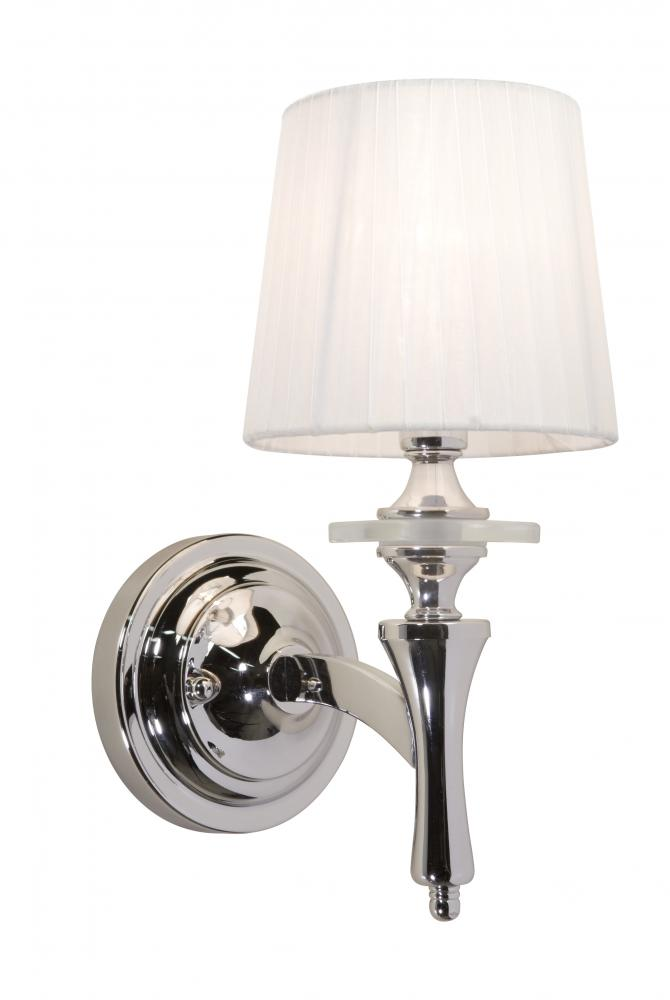White Bathroom Wall Sconces : Artcraft One Light Chrome White Silk Ribbon Shade Bathroom Sconce - AC3831