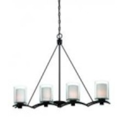 Artcraft Four Light Oil Rubbed Bronze Interior-frosted, Outer-clear Glass Island Light - AC1134OB