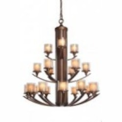 Artcraft Twenty One Light Distressed Rust Double Glass Glass Candle Chandelier - AC1251