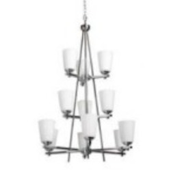 Artcraft Twelve Light Chrome Satin Acid Frosted Reeded Glass Up Chandelier - AC1270CH