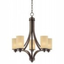 Five Light Oiled Bronze Opal White Glass Candle Chandelier