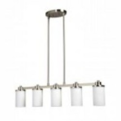 Artcraft Five Light Polished Nickel Opal White Glass Candle Island Light - AC1306PN