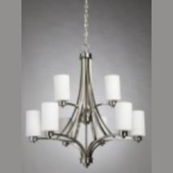 Artcraft Nine Light Polished Nickel Opal White Glass Up Chandelier - AC1309PN