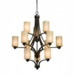 Twelve Light Oiled Bronze Opal White Glass Candle Chandelier