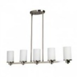 Artcraft Five Light Polished Nickel Opal White Glass Candle Island Light - AC1315PN